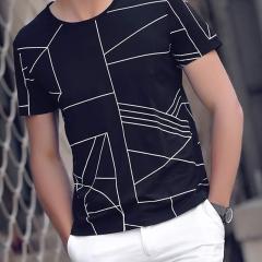 New men's t-shirt round neck Slim printed modal fabric black 190