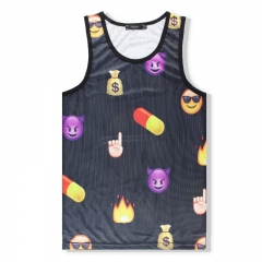 Men's Mesh Vest Sports Sleeveless Cuff Shoulder Stretch Loose T-shirt black m