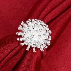 Silver ring jewelry creative personality fireworks ring silver one size