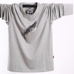 Autumn and winter new large size long-sleeved T-shirt pull elastic stretch loose clothing gray l