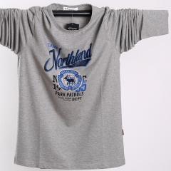 Long Sleeve T-shirt Men's round neck short sleeve Shirt elastic cotton T-shirt gray l