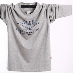 Big size long sleeve T-shirt, male base shirt, pure cotton stretch gray l