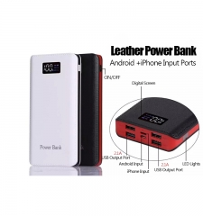 Leather Power Bank white black red black 5000mha