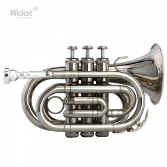 Aklot Bb B Flat Pocket Trumpet 7C Silver Plated Mouthpiece Smooth Valve Nickel Brass Body with Case