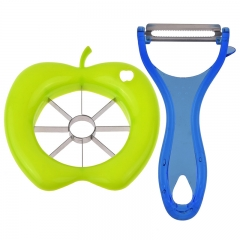 Fruit Skin Peeler Kitchen Gadgets and Fruit Cut Splitter Slicers with Apple Shape green one size