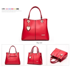 Topfashion New Elegant Fashion Classic All-Match OL Brand Leather Handbag red one size