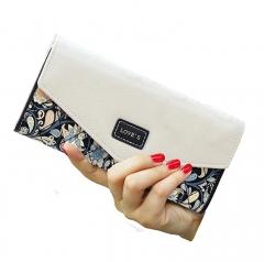 Topfashion New Women Long Floral Folding Leather Wallet Black One Size
