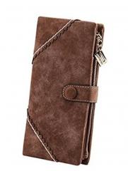 Topfashion Button Zipper Purse Long Leather Women  Wallet Brown one size