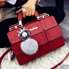 Suture Boston bag oblique shoulder ladies handbag ladies PU leather handbag red 32cmX13cmX22cm