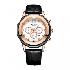 New MEGIR ladies watch fashion leather glowing quartz watch clock ladies Black belt
