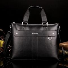 2017 men's casual briefcase corporate shoulder bag leather messenger bag computer bag travel bag black 30*38cm
