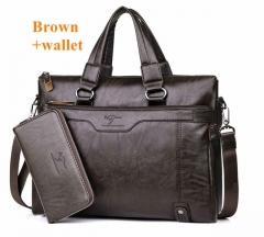 2017 Men's casual briefcase Business Shoulder Leather Handbag Computer Handbag Men's Travel Bag Brown + hand bag 38*30*7cm