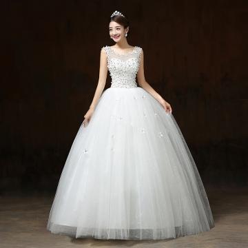 Fashion Korean Lace Up Ball Gown Quality Wedding Dresses white M