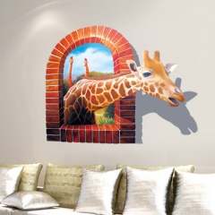 New creative wall stickers 3D stereo wall stickers giraffe wall stickers interesting wall stickers giraffe 60*90cm
