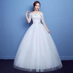 2017 new high-end bud ribbon sleeves one shoulder bride's wedding dress, big red white wedding yarn white xs