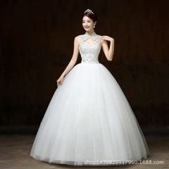 2017 new autumn spring han style simple bride shows thin and upright collar of Chinese style white s