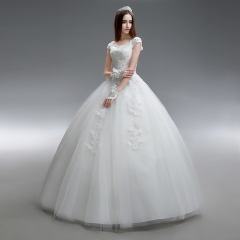 2017 new spring and summer custom simple word shoulder bride big code neat show wedding dress white s