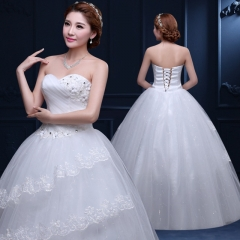 2017 new autumn bra Qi maternity wedding waist lace bride Korean big wedding dress code white s