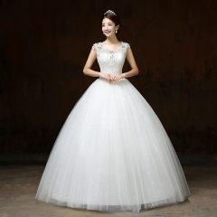 2017 Korean style shoulder self-cultivation wedding word shoulder lace show thin wedding dress white s