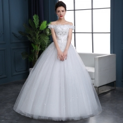 2017 new style a simple lace and a shoulder wedding dress white xs