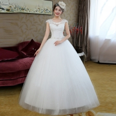2017 new round collar and shaggy skirt Korean lace Wedding Dresses white s