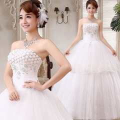 2017 Korean Sweet Princess lace bra straps neat slim slim dress white s