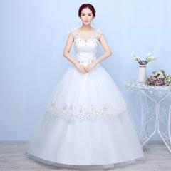 2017 new two shoulder Korean Bridal Wedding Dresses white s