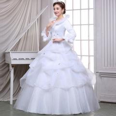 2017 new Korean thin white wedding dress with long sleeved cotton bandage dress warm winter white xs
