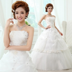 2017 Korean Sweet Princess Wedding Qi bra high-grade flounce wedding white s
