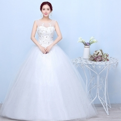 2017 new long white lace wedding dress brides marry a word shoulder thin wedding dress white s