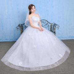 2017 new Korean spring and autumn Princess Qi thin wedding veil wedding dress white xs