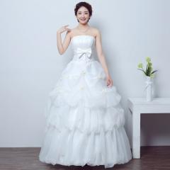 2017 new bride wedding dress simple Korean married Princess's wedding dress neat white s