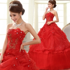 2017 new deluxe red lace embroidered thin wedding dress red s