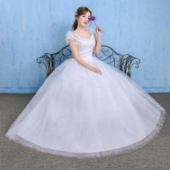 2017 new Korean style shoulder tailed double shoulder wedding dress white xs