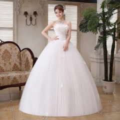 2017 new luxury diamond bra straps wedding bride Korean dress elegant wedding dress neat white s