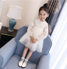 High-end Girl Lace Skirt Young Lady Dress Clothes White 110(110cm-115cm)