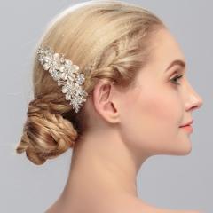 Unyee Woman Wedding Hair Jewelry Crystal Flower Hair Pin Hair Decorative Accessories silver standard