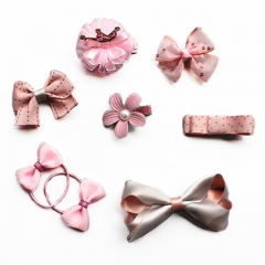 (Pack of 8)Unyee Baby Toddler Girl Hair Accessories Gift Set Hair Clips and Ties pink