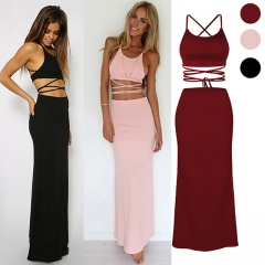 Sexy Woman European Style Brace Dress Night Club Outfit red S