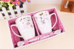 2 Pcs Cartoon Coffee Cup Mug Gift Set Random Patterns Standard