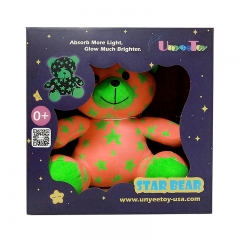 UnyeeToy Sister Bear | Glow-In-The-Dark Luminous Stuffed Animal Toy Gift - Batteries Not Required Pink 25mmx25mmx16mm