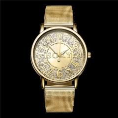 Hot Fashion Golden Shining Full Steel Rhinestone Quartz Men Watches Golden Cestbella Golden One size