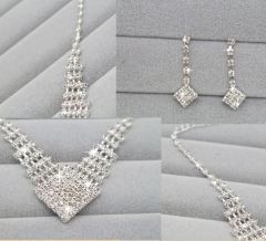 Shining Rhinestone Pure White Necklace Earring Set Evening Wedding Party Jewellery Cestbella Pure White Normal Size