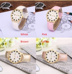 Fashion Cat Watches Leather Strap Lady Watch Pink White Brown Leather Watch Cestbella pure white
