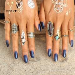 Golden Midi Ring Sets for Women Boho Beach Vintage Ring Gold Blue Ring Cestbella royal blue normal size