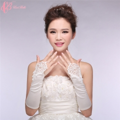 2017 Cestbella Pretty Hand Gloves Long White Satin Bridal Gloves pure white normal size