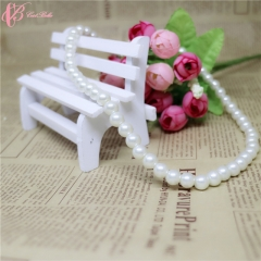 Elegant Luxury Wedding Wide Clasp Freshwater  Cestbella Pearl Necklace white 01