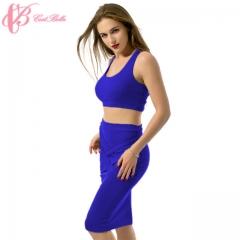 2017 Latest Sexy Bare Midriff Sleeveless Kenyan Women Hot Popular Long Casual Dress blue us 6