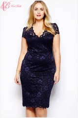Cestbella Short Sleeve V-Neck Lace Sexy Vintage Elegant  Woman Lace Embroidery Pencil Dress​ violet us 12
