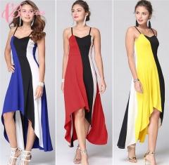 Graceful Design Color Blocking Kenya Hot Sale Asymmetrical Hem Slip Maxi Cestbella  Dress blue us 10